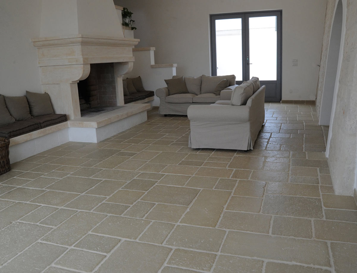 Pietre Bianca Per Interni pavimento in pietra ricostruita